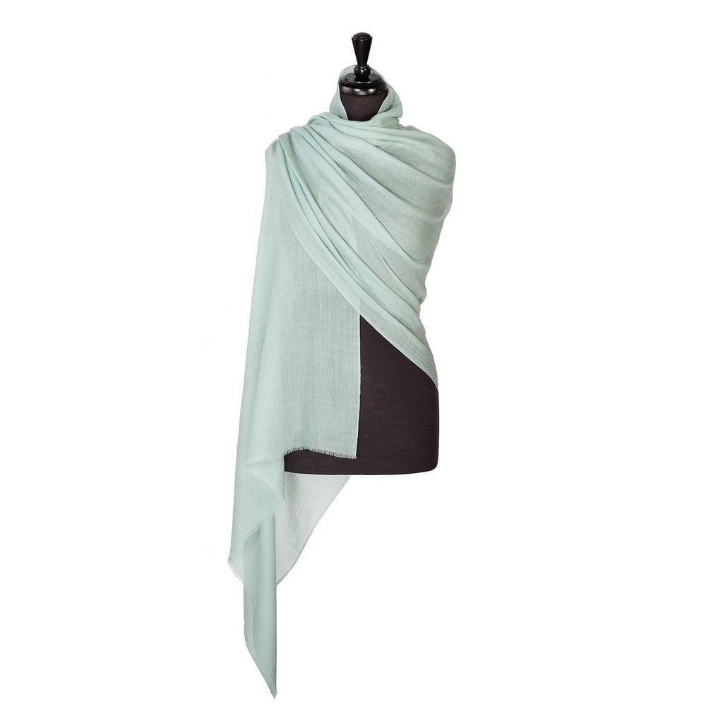 Buy Lightweight Fine Wool Pashmina Duck Egg Green From The Wool Company Online