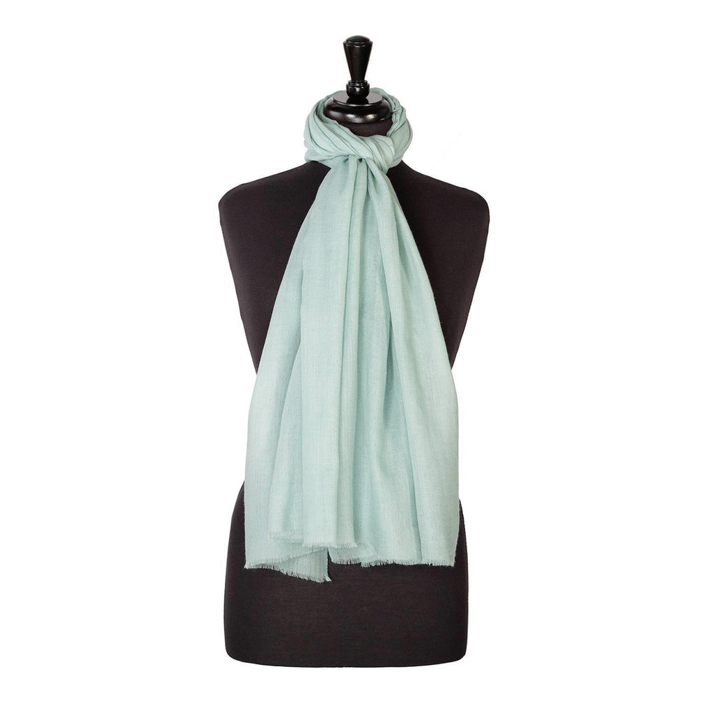 Lightweight Fine Wool Pashmina Duck Egg Green -  - CLOTHING  from The Wool Company