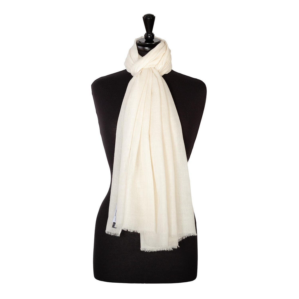 Lightweight Fine Wool Pashmina Ivory -  - CLOTHING  from The Wool Company
