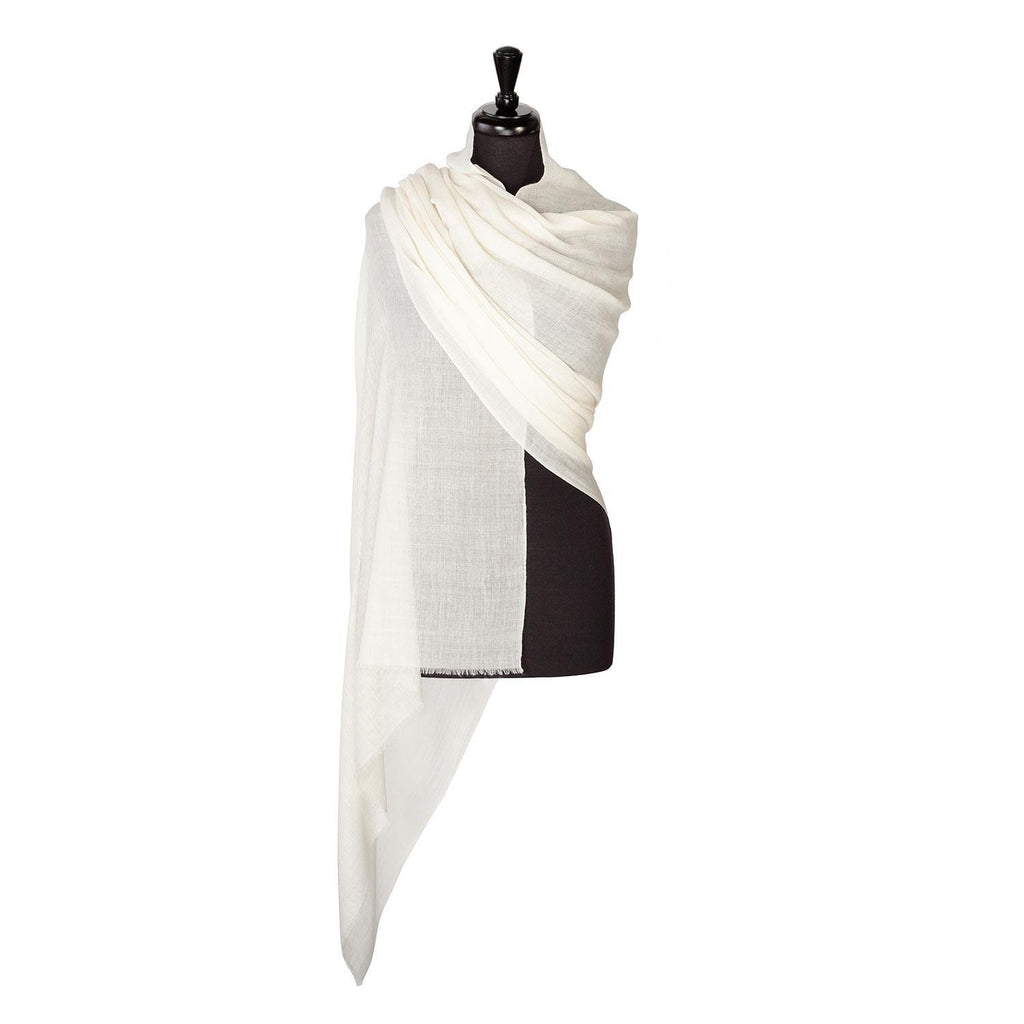 Buy Lightweight Fine Wool Pashmina Ivory From The Wool Company Online