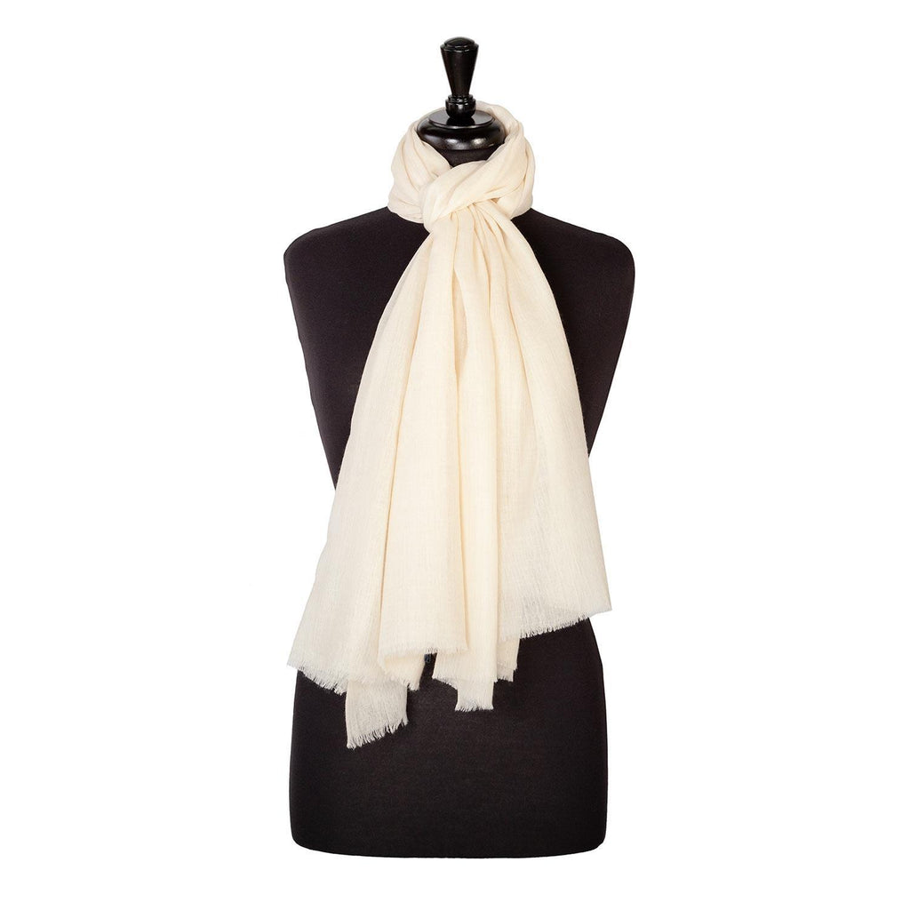 Lightweight Fine Wool Pashmina Oyster -  - CLOTHING  from The Wool Company