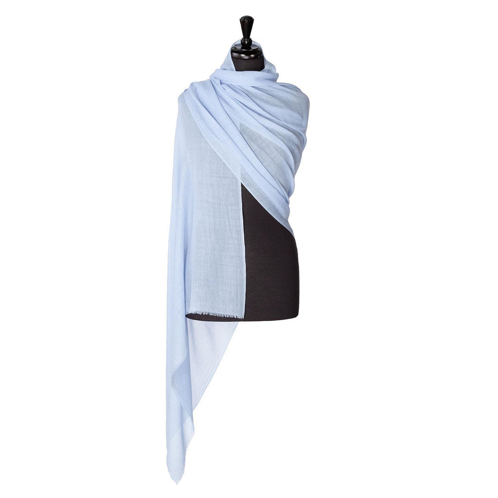 Buy Lightweight Fine Wool Pashmina Pale Blue From The Wool Company Online