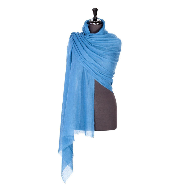 Buy Lightweight Fine Wool Pashmina Summer Blue From The Wool Company Online