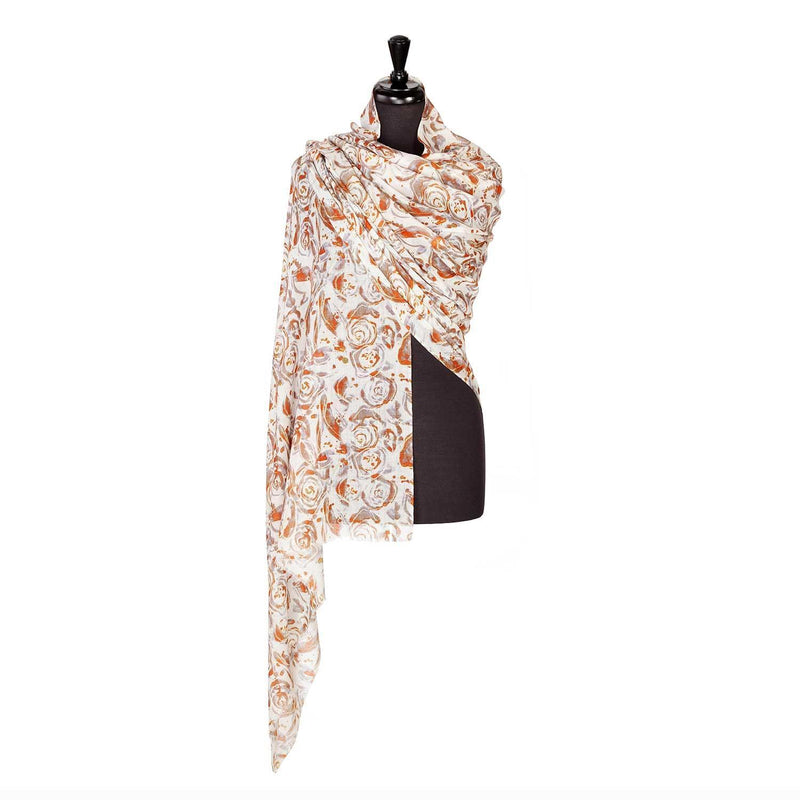 Lightweight Fine Wool Printed Pashmina Copper Rose -  - CLOTHING  from The Wool Company