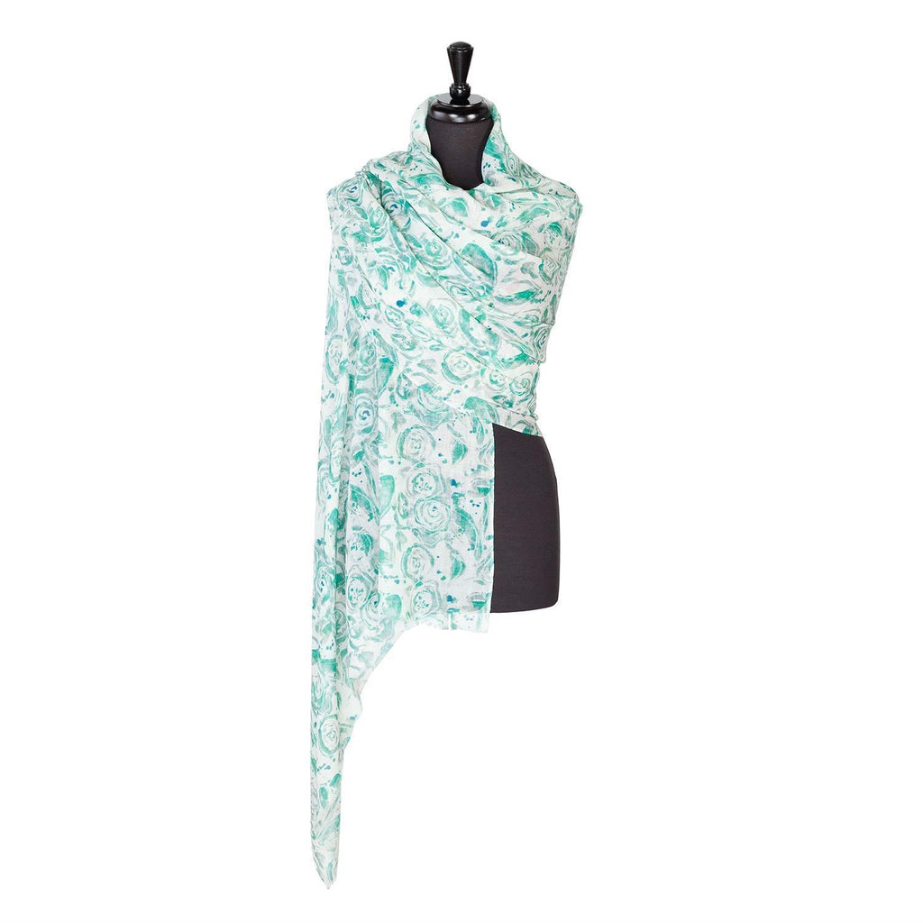 Lightweight Fine Wool Printed Pashmina Green Rose -  - CLOTHING  from The Wool Company