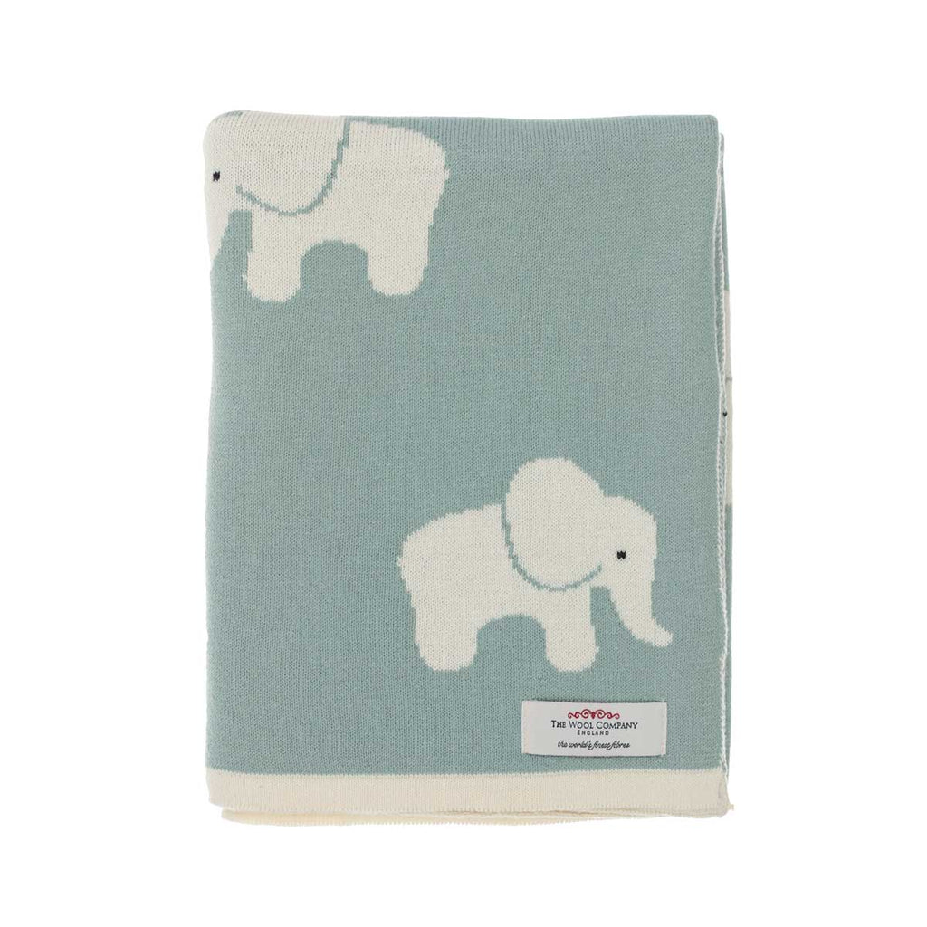 Lola Elephant Baby Blanket Blue Green -  - BABY  from The Wool Company