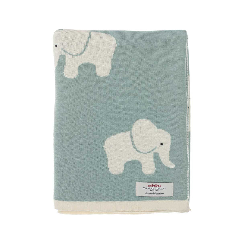 Lola Elephant Baby Blanket Blue Green BABY The Wool Company