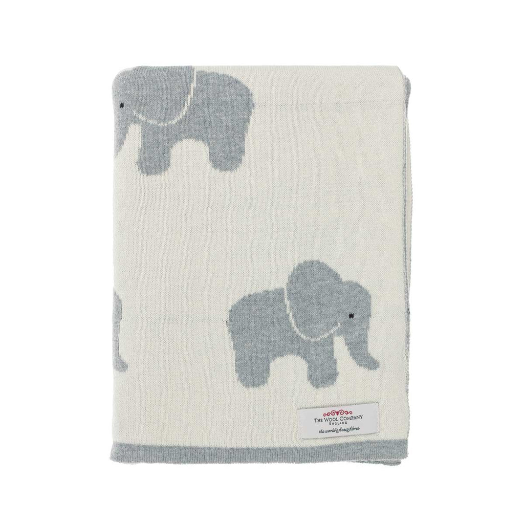 Buy Lola Elephant Baby Blanket Cream and Dove Grey From The Wool Company Online