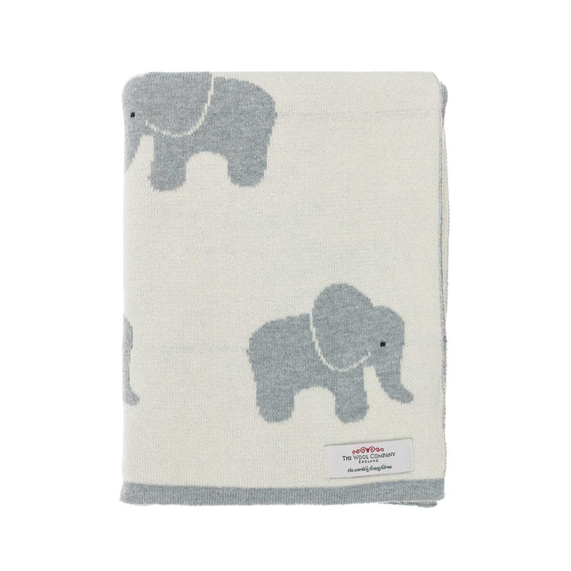 Lola Elephant Baby Blanket Cream and Dove Grey BABY The Wool Company