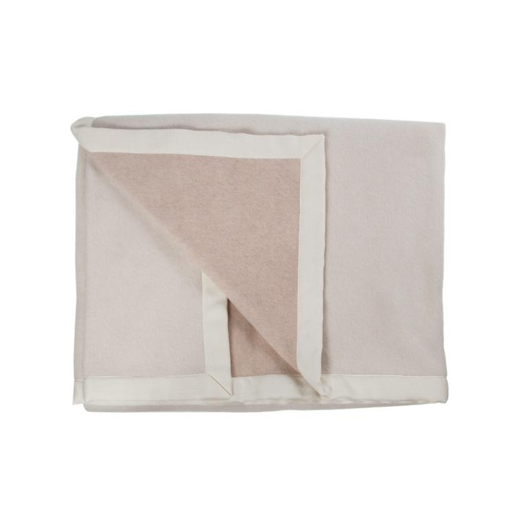 Lussuoso Cashmere Double Sided Blanket Sand & Cream LUXURY BEDDING The Wool Company