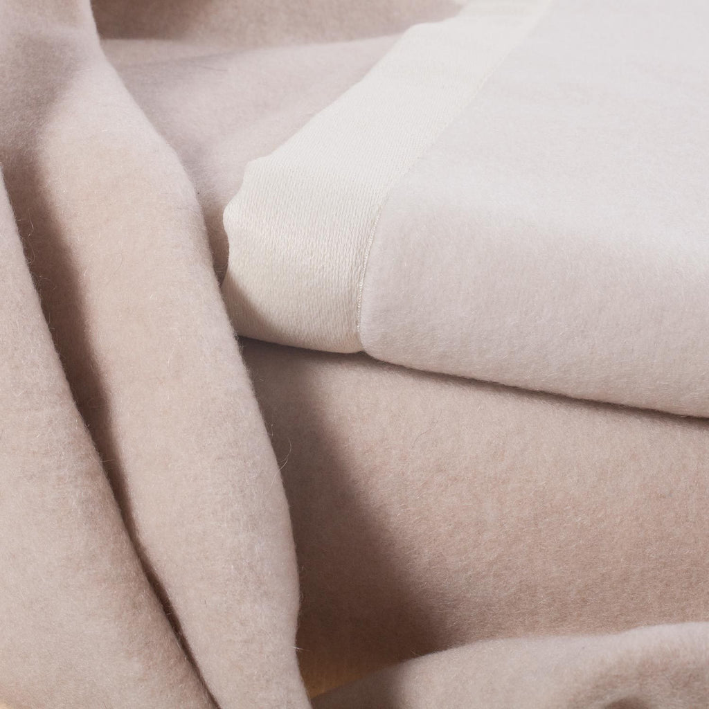 Lussuoso Cashmere Double Sided Blanket Sand & Cream -  - LUXURY BEDDING  from The Wool Company