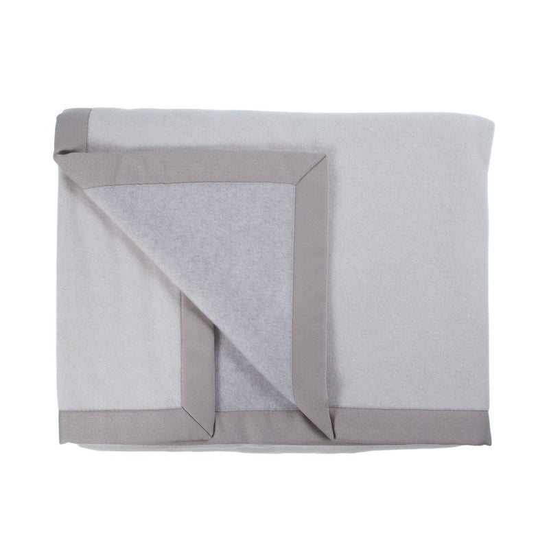 Lussuoso Cashmere Double Sided Blanket Soft Grey & Cream -  - LUXURY BEDDING  from The Wool Company