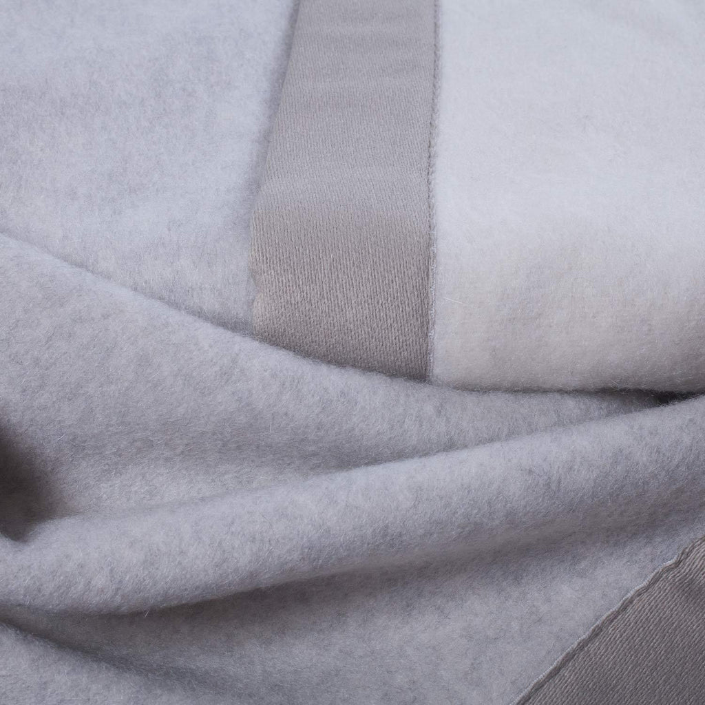 Lussuoso Cashmere Double Sided Blanket Soft Grey & Cream LUXURY BEDDING The Wool Company