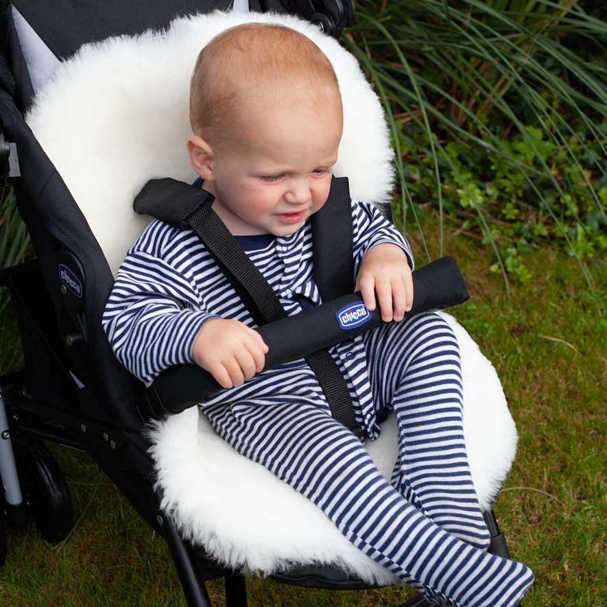 Luxury Merino Pushchair Liner White -  - BABY  from The Wool Company