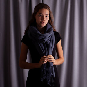 Luxury Pashmina Shawl Charcoal -  - CLOTHING  from The Wool Company