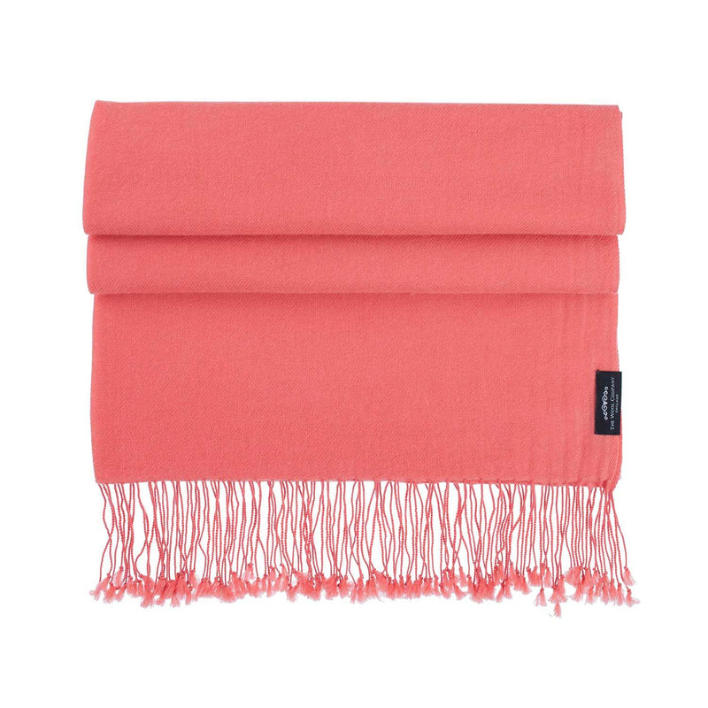 Luxury Pashmina Shawl Coral -  - CLOTHING  from The Wool Company