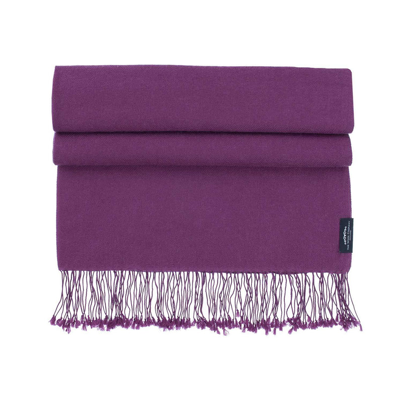 Luxury Pashmina Shawl Damson -  - CLOTHING  from The Wool Company