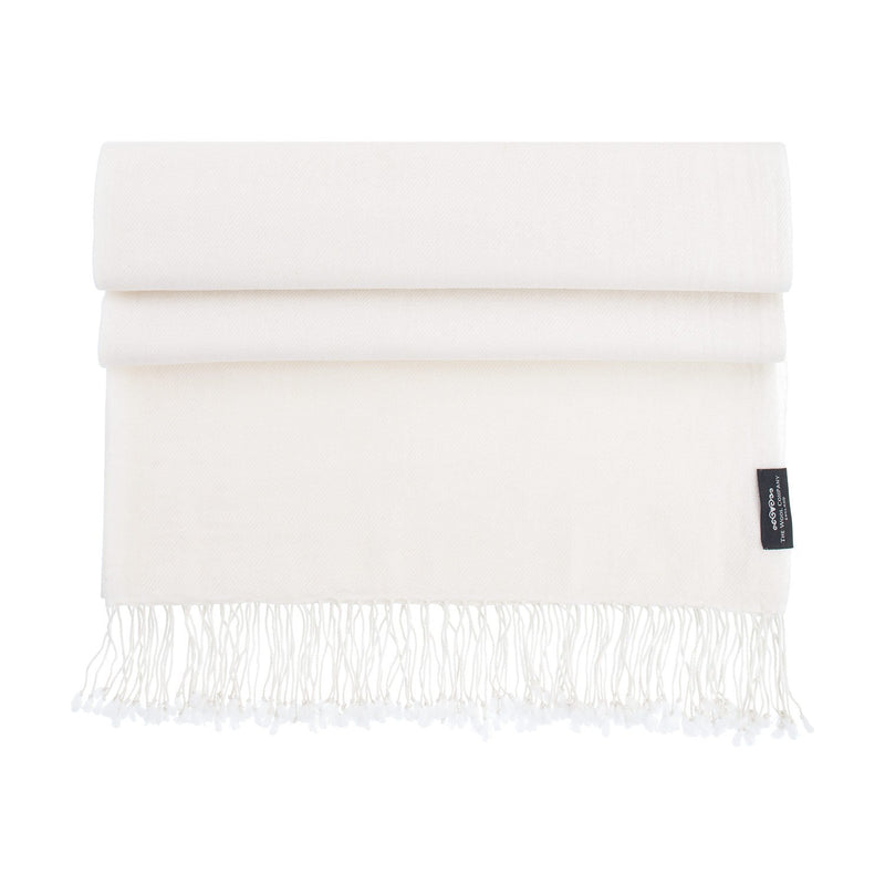 Luxury Pashmina Shawl Off-White CLOTHING The Wool Company