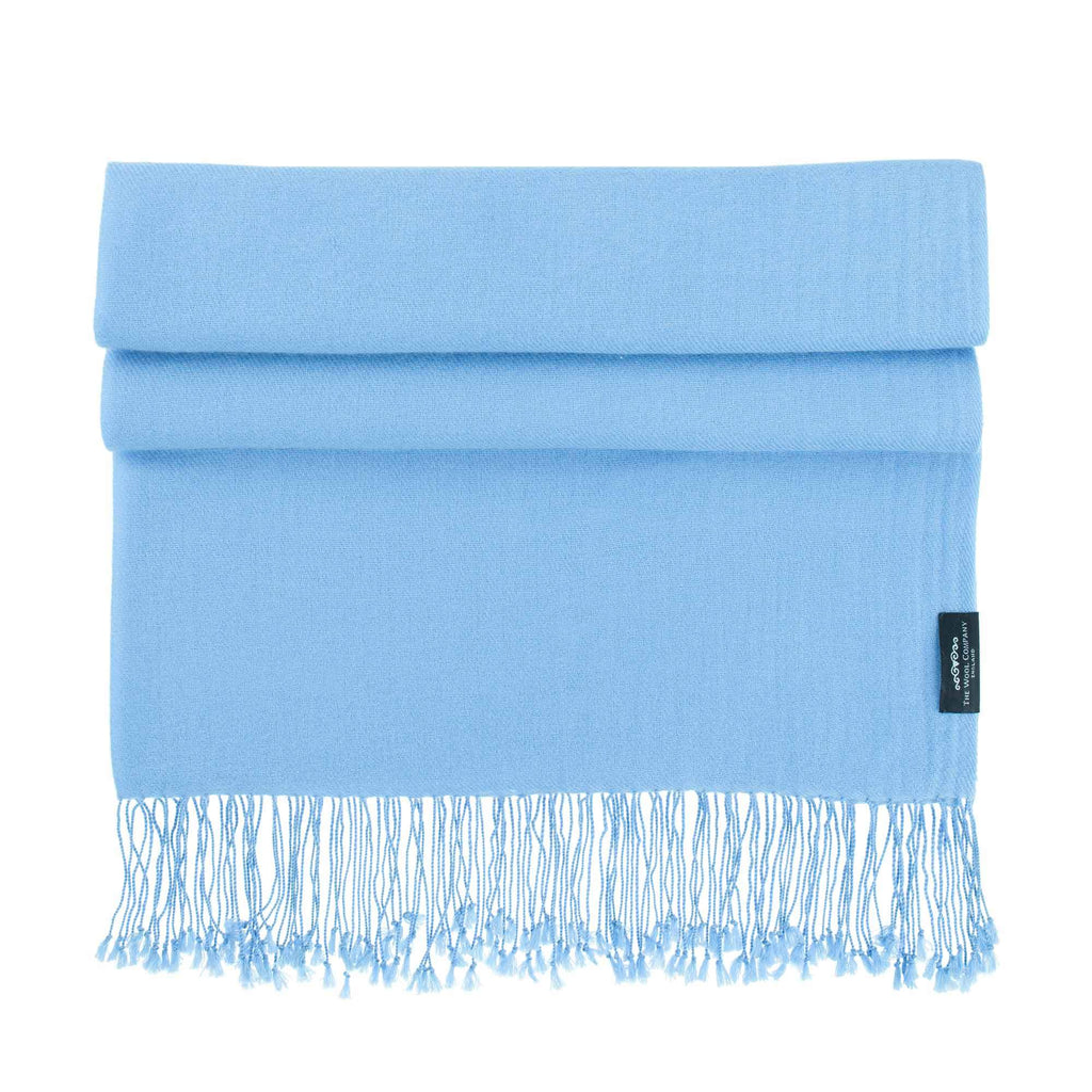 Luxury Pashmina Shawl Sky Blue CLOTHING The Wool Company