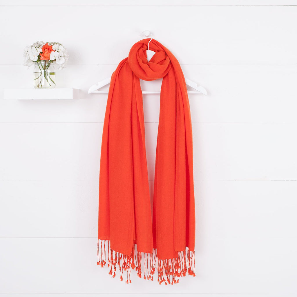 Luxury Pashmina Shawl Tangerine -  - CLOTHING  from The Wool Company