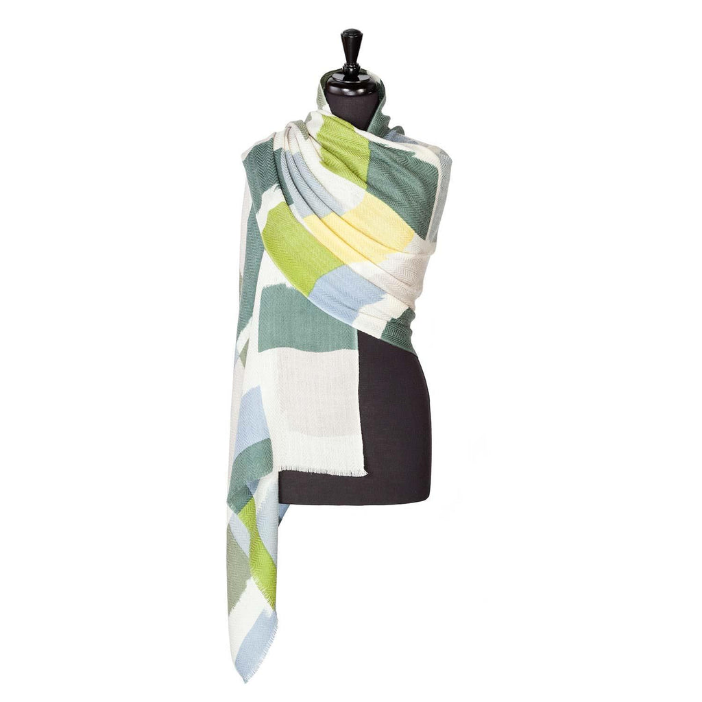 Luxury Wool And Silk Printed Shawl Green -  - CLOTHING  from The Wool Company