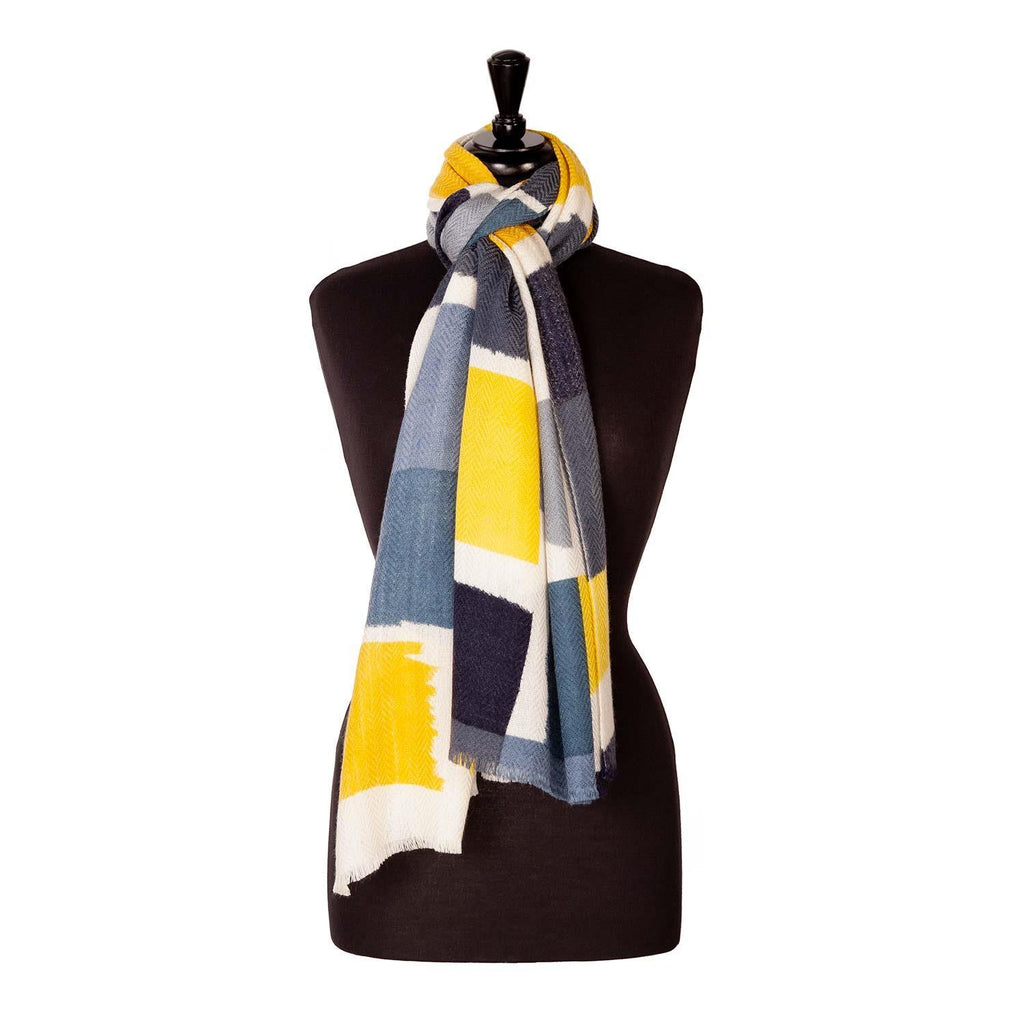 Luxury Wool And Silk Printed Shawl Grey -  - CLOTHING  from The Wool Company