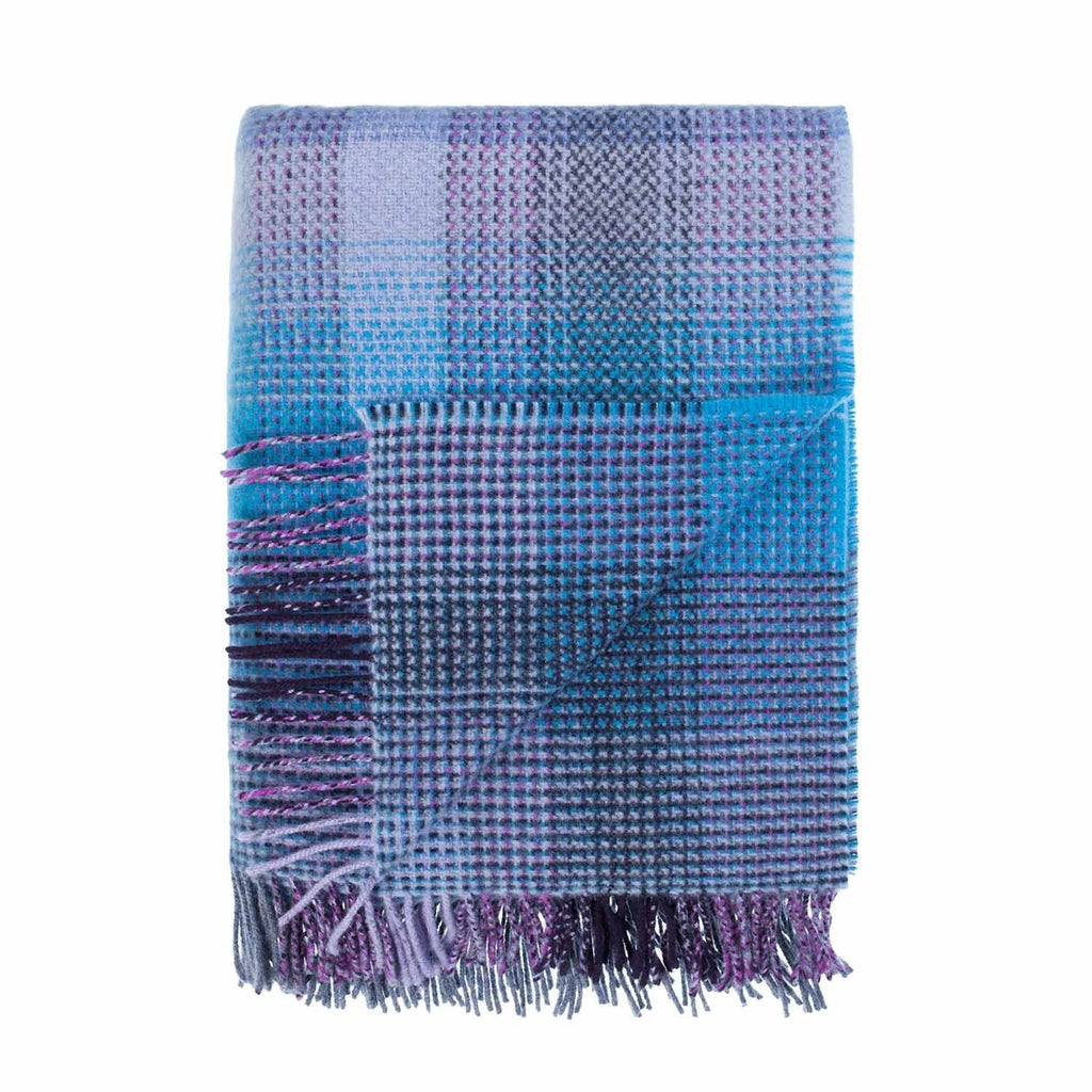 Merino Cashmere Blend Throw Bluebell Check LIVING The Wool Company