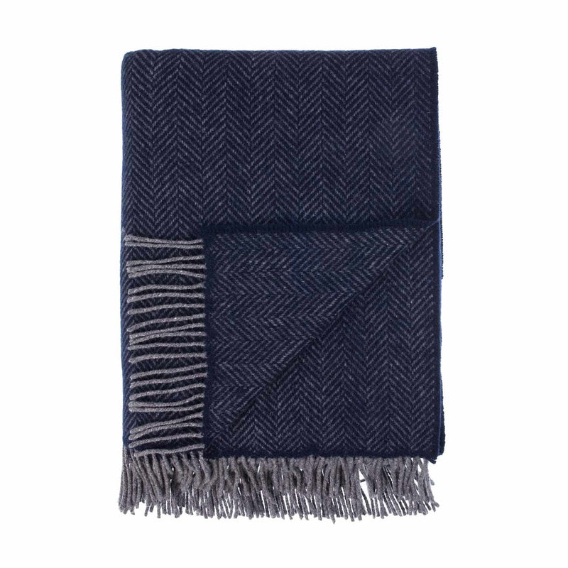 Merino Cashmere Blend Throw Charcoal Herringbone LIVING The Wool Company