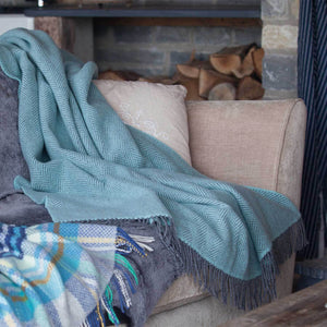 Buy Merino Cashmere Blend Throw Duck Egg and Grey Herringbone From The Wool Company Online