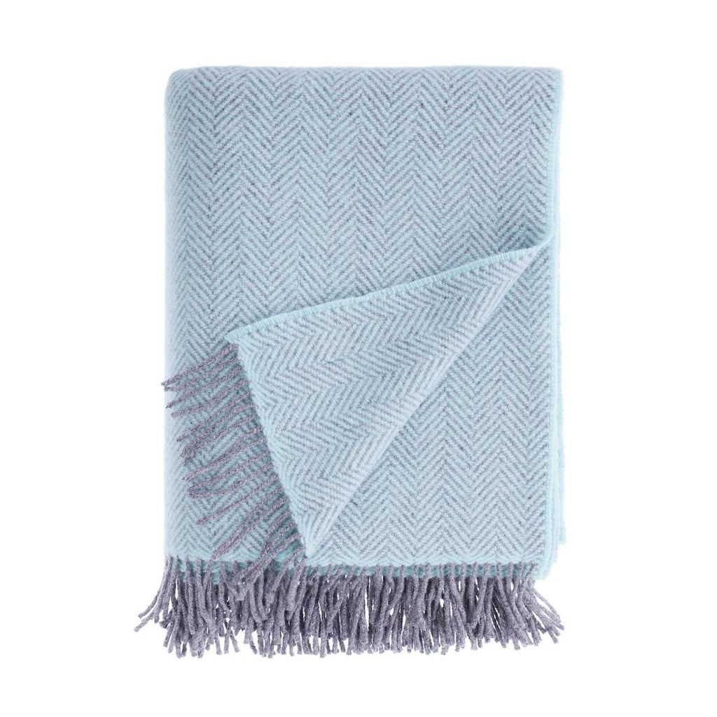 Merino Cashmere Blend Throw Duck Egg and Grey Herringbone -  - LIVING  from The Wool Company