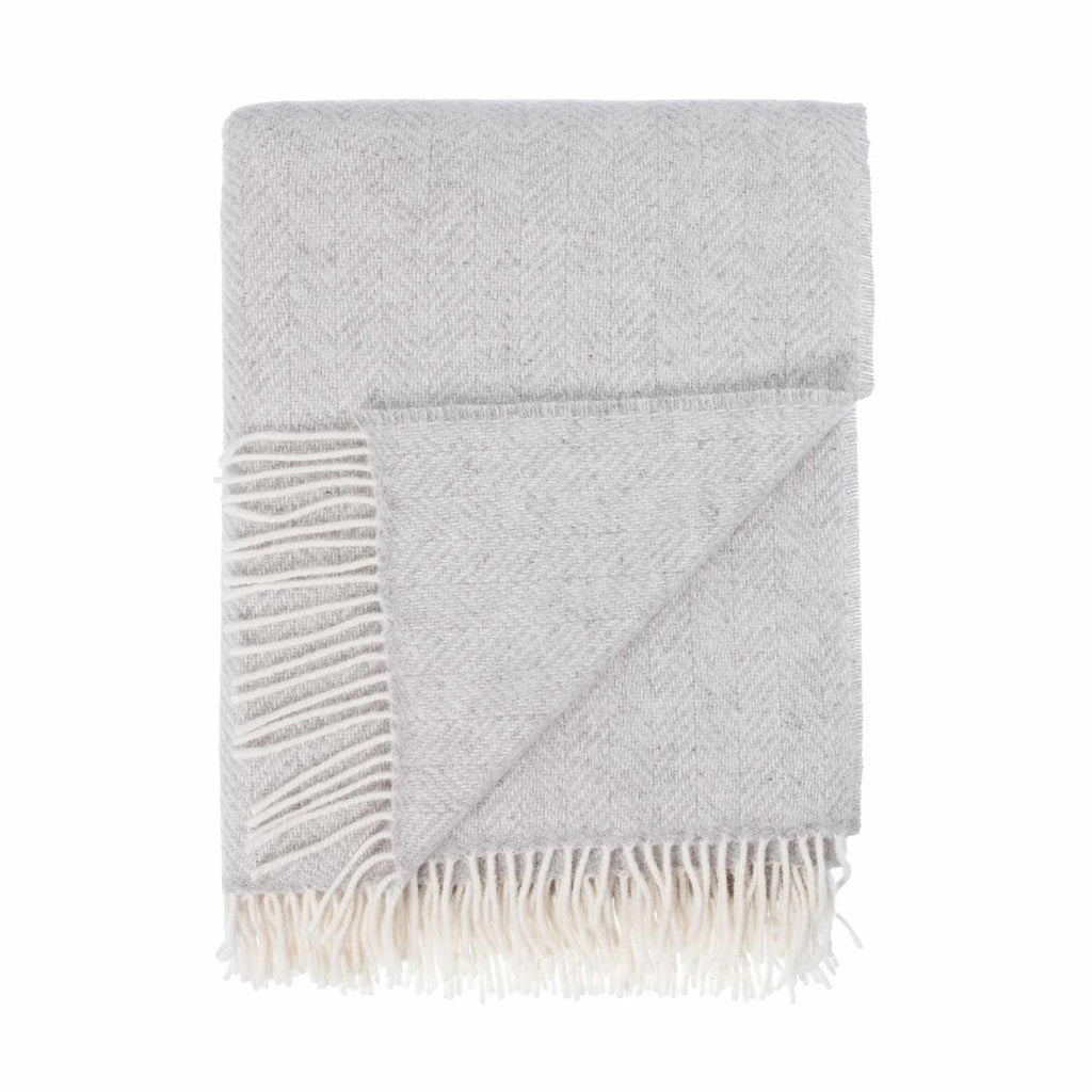 Merino Cashmere Blend Throw Light Grey Herringbone -  - LIVING  from The Wool Company