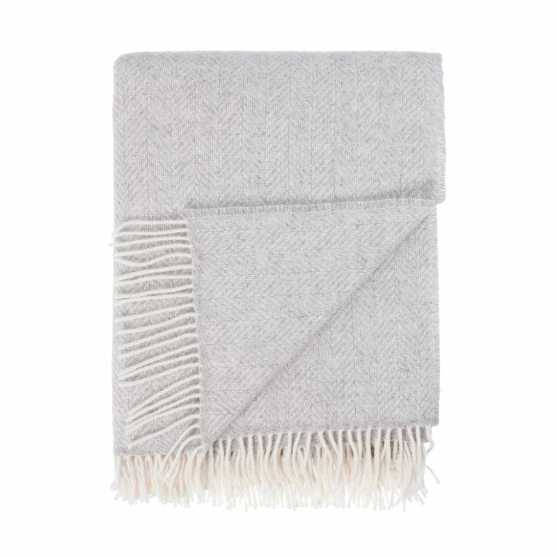 Buy Merino Cashmere Blend Throw Light Grey Herringbone From The Wool Company Online