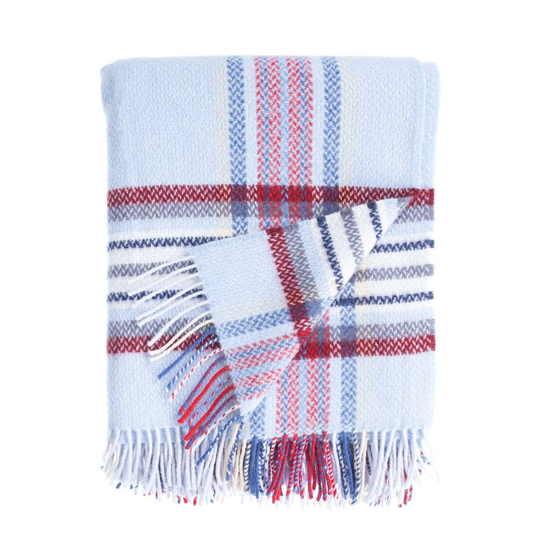 Merino Cashmere Blend Throw Nautical Check LIVING The Wool Company