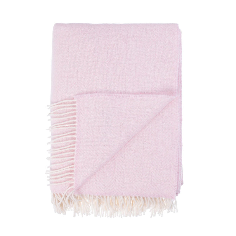 Merino Cashmere Blend Throw Softest Pink Herringbone LIVING The Wool Company