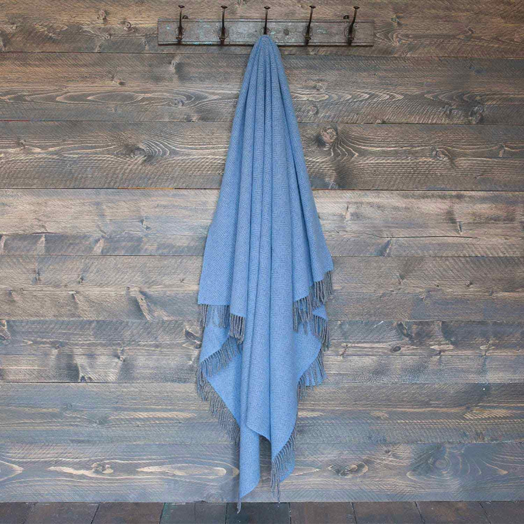 Buy Merino Cashmere Blend Throw True Blue Herringbone From The Wool Company Online
