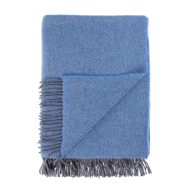 Merino Cashmere Blend Throw True Blue Herringbone LIVING The Wool Company