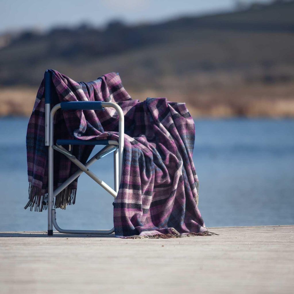 Merino Lambswool Blanket Damson -  - LIVING  from The Wool Company