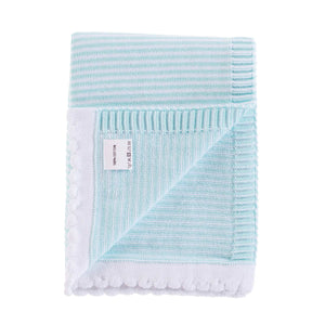 Mint Stripe Cotton Baby Blanket -  - BABY  from The Wool Company