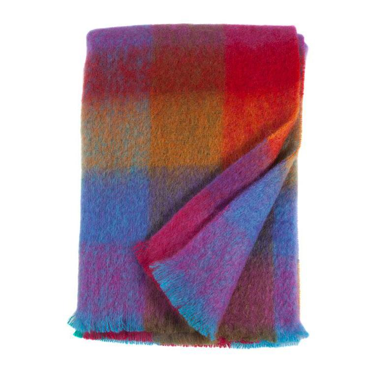 Mohair Knee Rug Guava Check LIVING The Wool Company