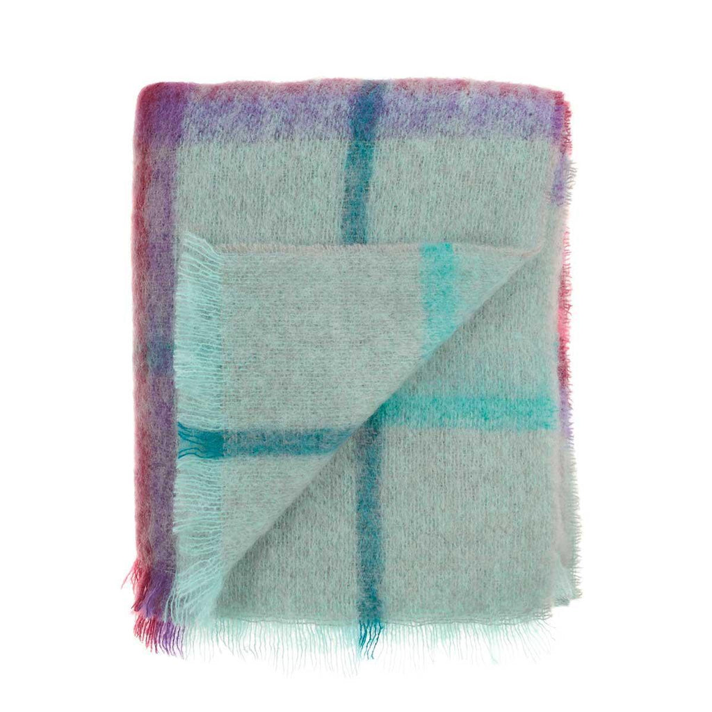 Mohair Throw Berry and Aqua -  - LIVING  from The Wool Company
