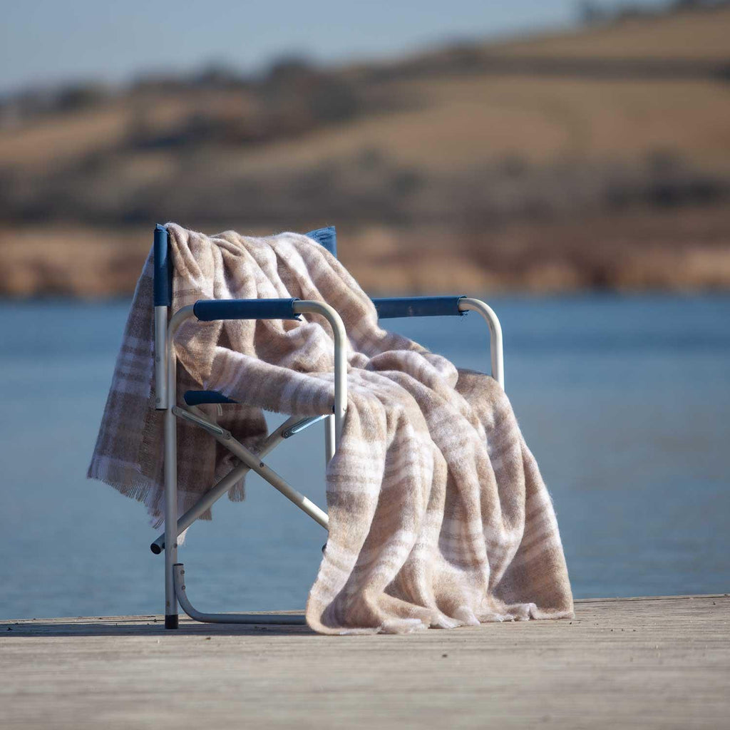 Mohair Throw Oyster Plaid -  - LIVING  from The Wool Company