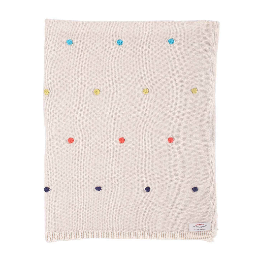 Multi Coloured Spot Cotton Baby Blanket -  - BABY  from The Wool Company