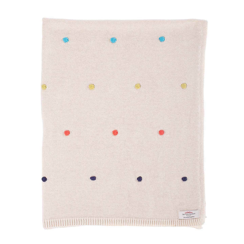Buy Multi Coloured Spot Cotton Baby Blanket From The Wool Company Online