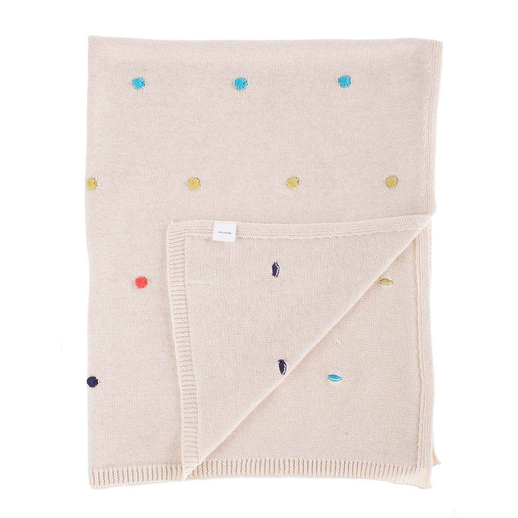Multi Coloured Spot Cotton Baby Blanket BABY The Wool Company