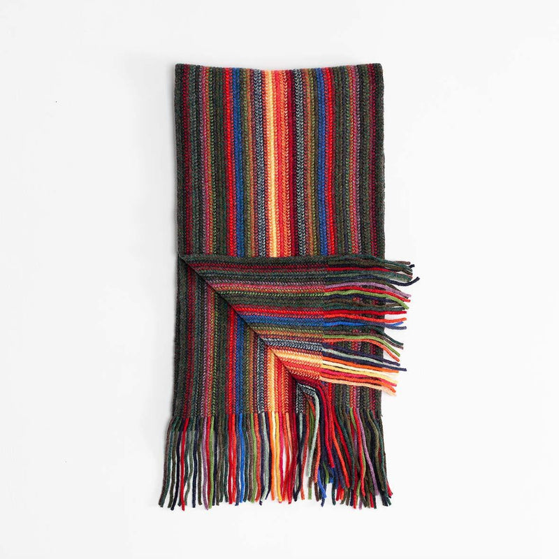 Multi Stripe Lambswool Scarf Dark Green -  - CLOTHING  from The Wool Company