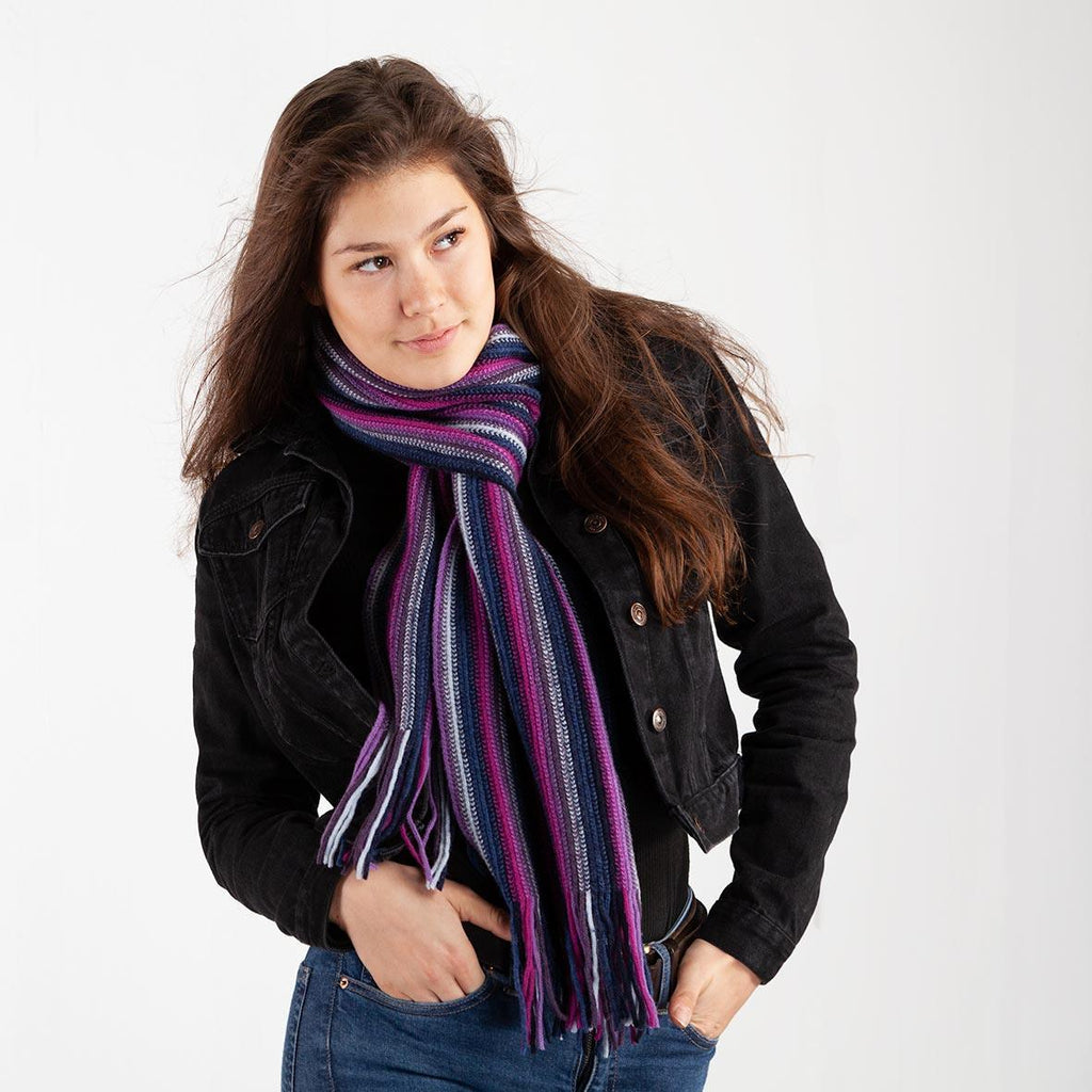 Multi Stripe Lambswool Scarf Lavender -  - CLOTHING  from The Wool Company