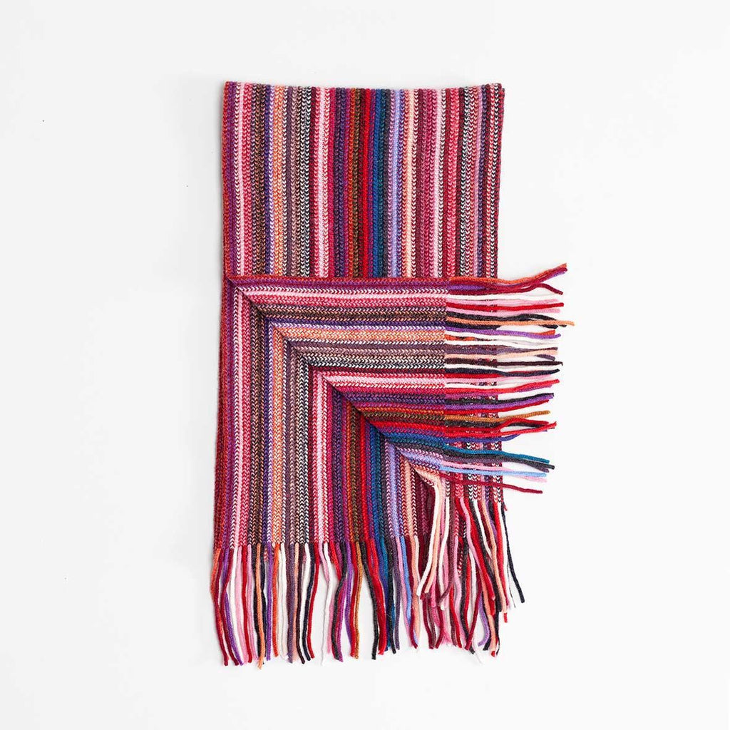 Buy Multi Stripe Lambswool Scarf Pink From The Wool Company Online