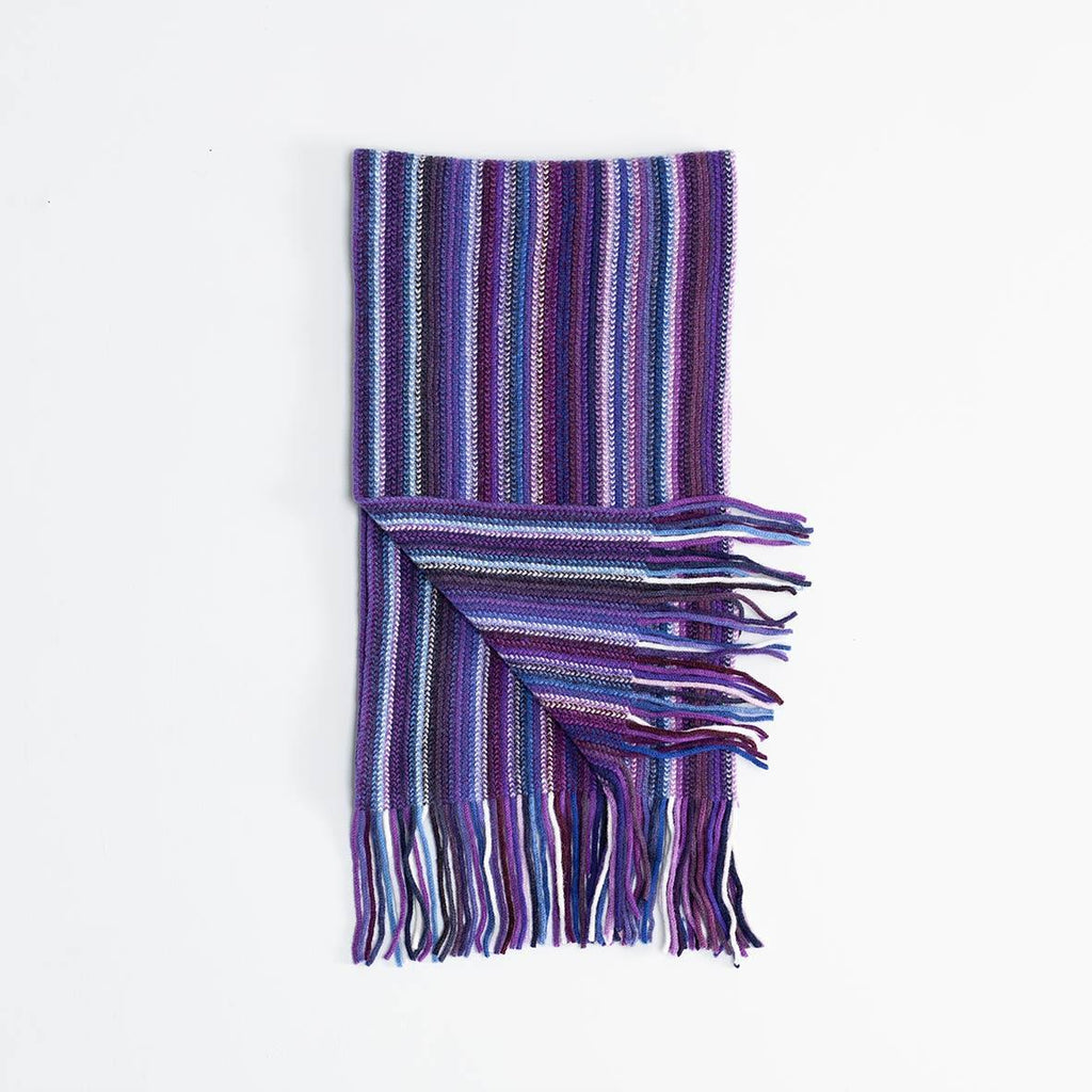 Multi Stripe Lambswool Scarf Purple -  - CLOTHING  from The Wool Company