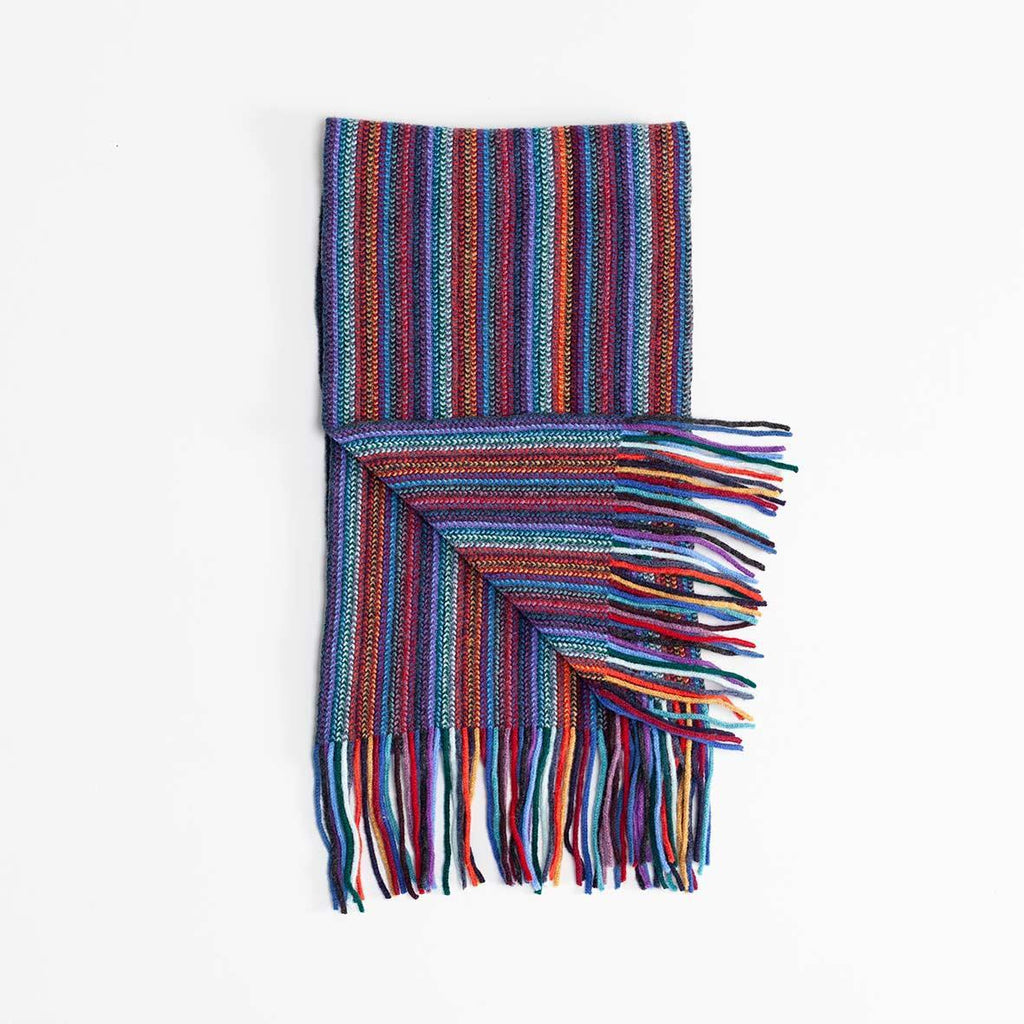 Multi Stripe Lambswool Scarf Rainbow -  - CLOTHING  from The Wool Company