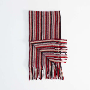Multi Stripe Lambswool Scarf Red and Brown -  - CLOTHING  from The Wool Company